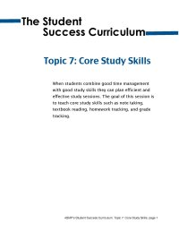 The Student Success Curriculum